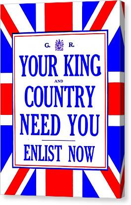 Recruiting Poster - Britain - King And Country Canvas Print by Benjamin Yeager