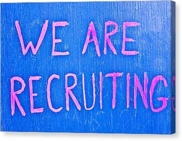 Recruiting Canvas Print by Tom Gowanlock
