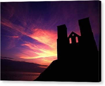 Reculver Church At Sunrise Canvas Print by John Topman