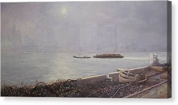 Recycling Barge On The Thames River Canvas Print
