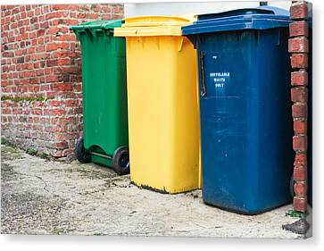 Recycling Bins Canvas Print by Tom Gowanlock