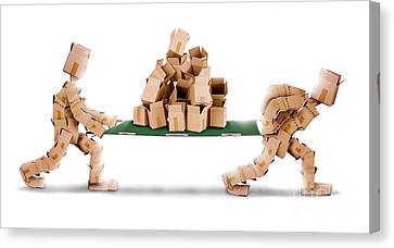 Recycling Boxes By Box Men And Stretcher Canvas Print