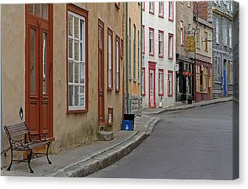 Recycling On Rue Couillard In Quebec City Canvas Print by Juergen Roth