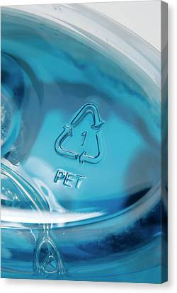 Recycling Symbol On Plastic Bottle Canvas Print by Trevor Clifford Photography