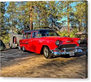 Red '55 Chevy Wagon Canvas Print by Michael Pickett