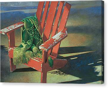 Red Adirondack Chair Canvas Print by Mia Tavonatti