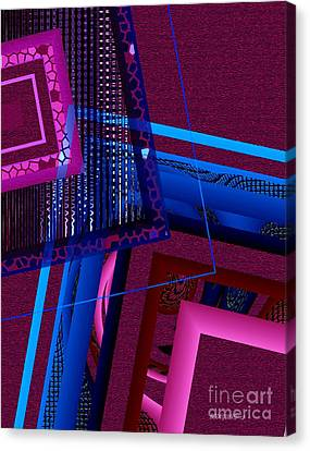 Red And Blue Geometric Art Canvas Print by Mario Perez