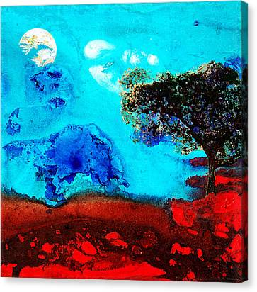 Red And Blue Landscape By Sharon Cummings Canvas Print by Sharon Cummings