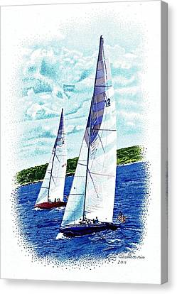 Red And Blue Sailboats Canvas Print by Judy Skaltsounis