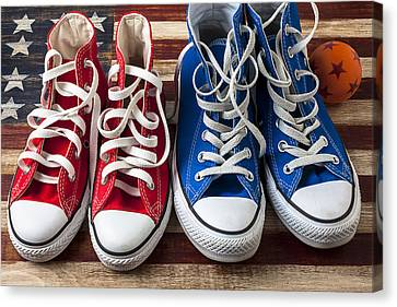 Red And Blue Tennis Shoes Canvas Print by Garry Gay
