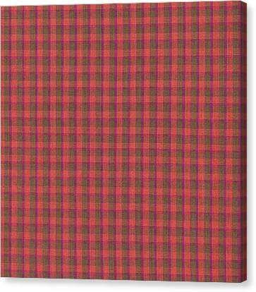 Red And Green Checked Plaid Pattern Cloth Background Canvas Print by Keith Webber Jr