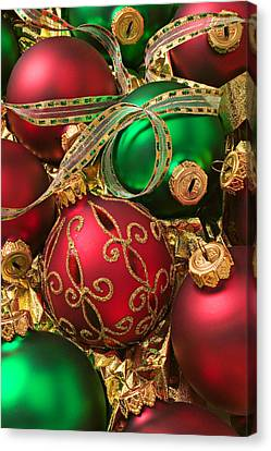 Red And Green Christmas Ornaments Canvas Print by Garry Gay