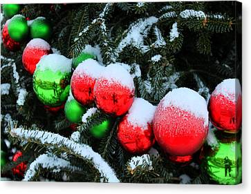 Red And Green Christmas Ornaments Canvas Print