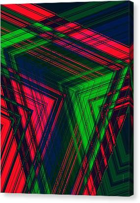 Red And Green In Geometric Design Canvas Print by Mario Perez