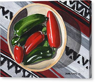 Canvas Print featuring the painting Red And Green Peppers by Laura Forde