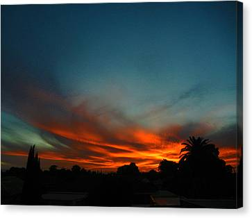 Red And Green Sunset Canvas Print