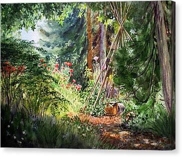 Canvas Print featuring the painting Poppies Season In The Garden  by Irina Sztukowski