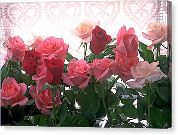 Love Laces Canvas Print - Red And Pink Roses In Window by Garry Gay