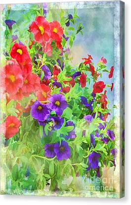 Red And Purple Calibrachoa - Digital Paint I Canvas Print by Debbie Portwood