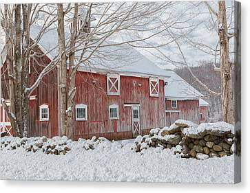 Red Barn In Snow Canvas Print - Red And White by Bill Wakeley
