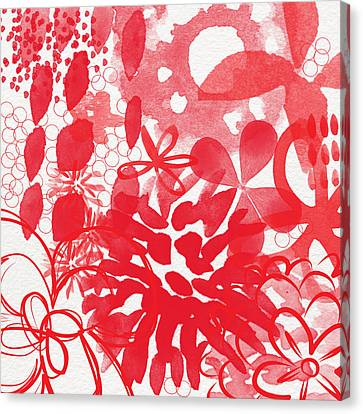 Red And White Bouquet- Abstract Floral Painting Canvas Print by Linda Woods
