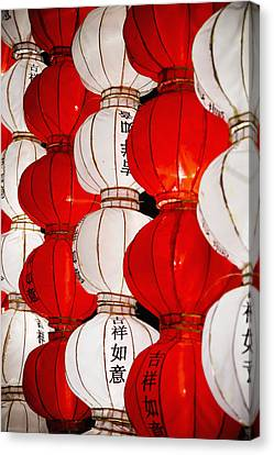 Red And White Chinese Lanterns With Canvas Print