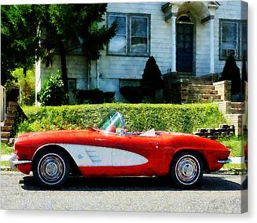 Convertibles Canvas Print - Red And White Corvette Convertible by Susan Savad