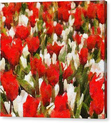 Red And White Flowers Canvas Print by Yury Malkov