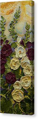 Red And White Hollyhocks Canvas Print