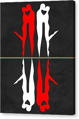 Love Making Canvas Print - Red And White Kiss Reflection by Naxart Studio