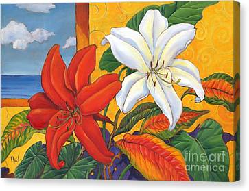 Red And White Lillies Canvas Print by Paul Brent
