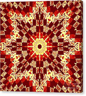 Red And White Patchwork Art Canvas Print by Barbara Griffin