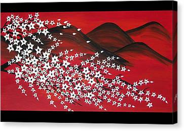 Red And White Sakura Canvas Print by Cathy Jacobs