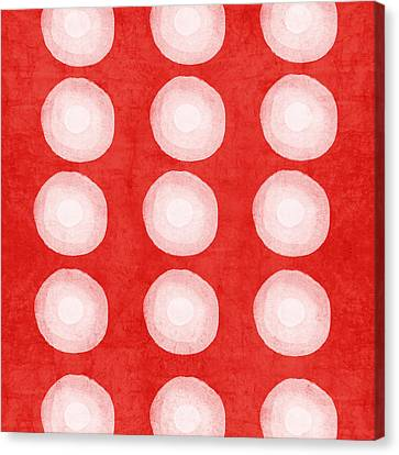 Red And White Shibori Circles Canvas Print by Linda Woods