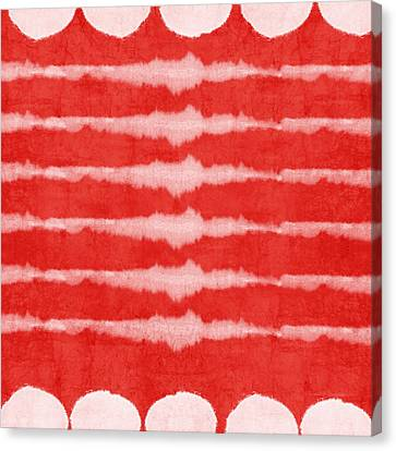 Red And White Shibori Design Canvas Print by Linda Woods