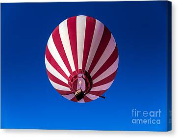 Red And White Striped Balloon Canvas Print by Robert Bales