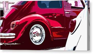 Red And White Vw Beetles Pano Canvas Print