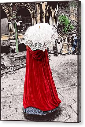 Red And White Walking Canvas Print by Kae Cheatham