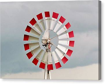 Canvas Print featuring the photograph Red And White Windmill by Cynthia Guinn