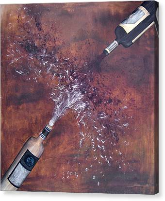 Red And White Wine Explosion Canvas Print by Michelle Iglesias