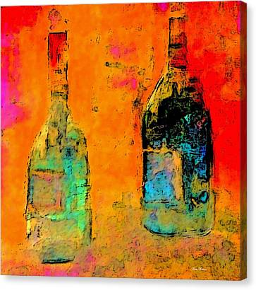 Canvas Print featuring the painting Red And White Wine by Lisa Kaiser