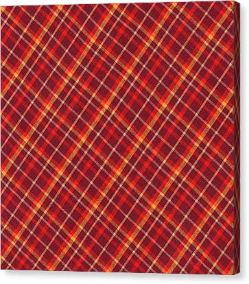 Red And Yellow Diagonal Plaid Textile Design Background Canvas Print by Keith Webber Jr