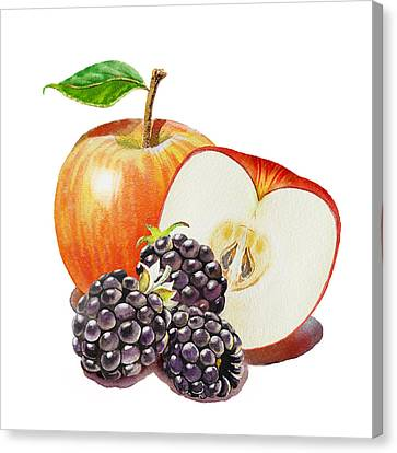 Red Apple And Blackberries Canvas Print