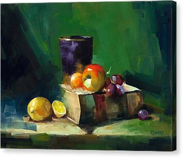 Red Apple Book And Purple Canvas Print by Pepe Romero