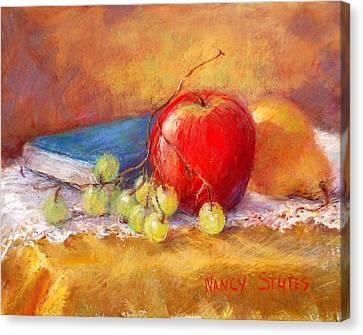 Red Apple Canvas Print by Nancy Stutes