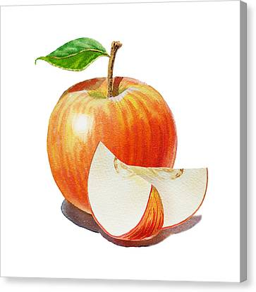 Red Apple Sliced Apple Canvas Print by Irina Sztukowski