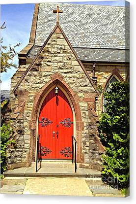 Canvas Print featuring the photograph Red Arch Church Door 1 by Becky Lupe