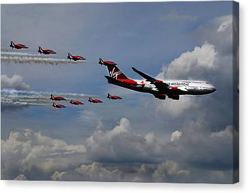 Red Arrows And Lady Penelope Canvas Print by Mark Rogan