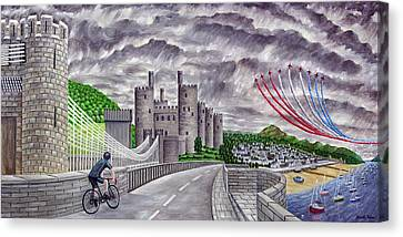 Red Arrows At 1000 Feet Over Conway Castle Canvas Print by Ronald Haber