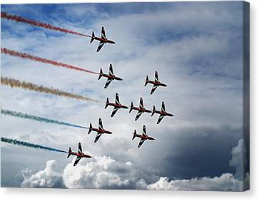 Red Arrows In Typhoon Formation Canvas Print by Mark Rogan